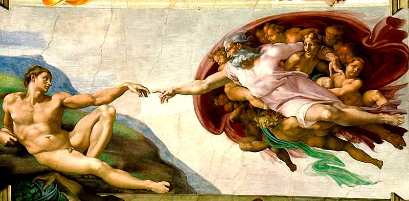 La creación de Adán (1508-1512), de Miguel Ángel, en la Capilla Sixtina (Vaticano).