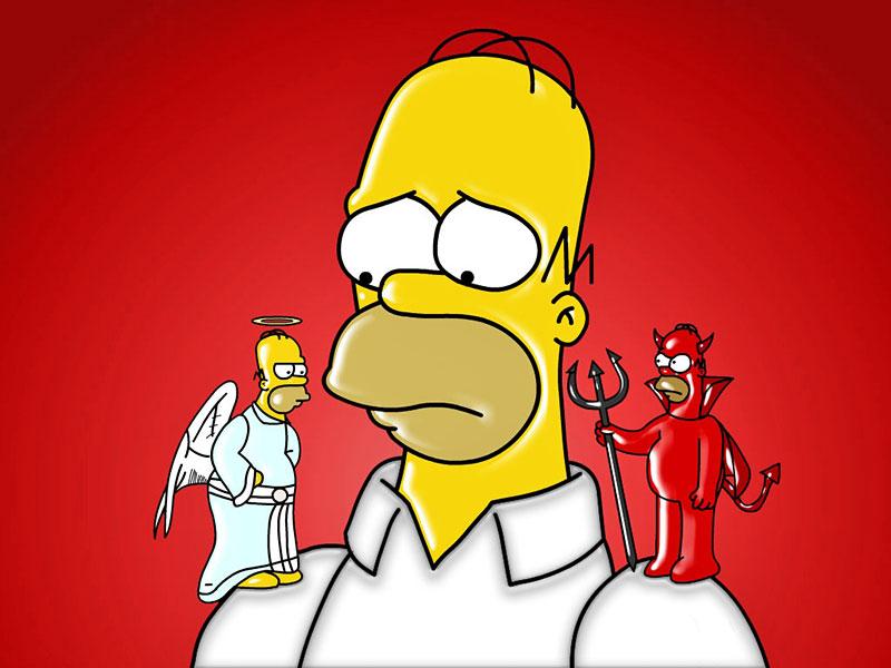 La ilustracion acerca del dilema de Homero Simpson, creación de Matt Groening, ayuda a comprender de qué trata el libre albedrío.
